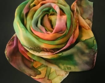 One of a kind hand painted silk shawls and wraps by Michele Morgan,women's luxury accessories, Christmas gifts for her, gold,green,rust