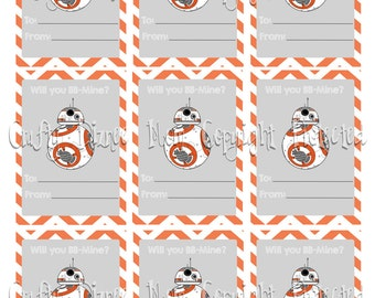 BB8 Inspired Printable Valentine's Day Cards