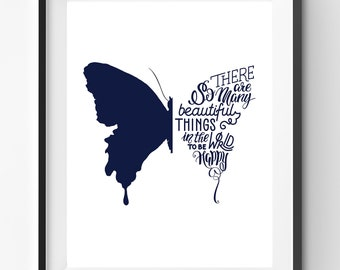 There Are So Many Beautiful Things, Handlettering Print, Blue Typography, Cursive Quote, Butterfly Poster, Motivation Art, Joy Quote Print
