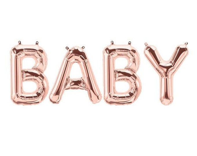 Baby Balloons in Rose gold, Gold or Silver Foil, Baby Shower Balloon, baby 14 inch Balloons, Baby Shower ballons, Gender Reveal balloon
