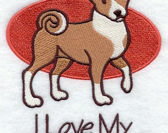 I Love My Basenji Embroidered Flour Sack Hand/Dish Towel