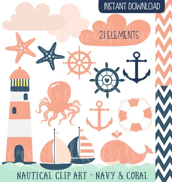 Nautical Clip Art Navy Coral Lighthouse Sailboat Whale
