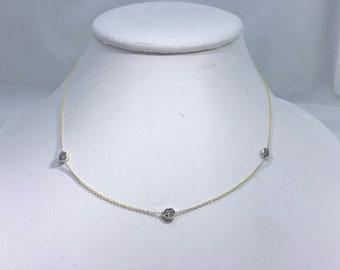 14K Bezeled Pink Diamonds Necklacd Chain - 1 TCW Raw Uncut Rough Pink Diamonds