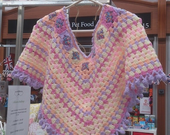 Boho Rainbow and Cupcakes Crocheted Poncho Festivals Birthdays