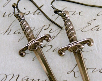 Vintage Earrings - Dagger Earrings -  Brass Earrings - Knife Earrings - handmade jewelry