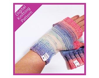 Gloves knitting pattern, Fingerless Gloves, pdf knitting pattern, digital download,  pattern, downloadable design, knitting