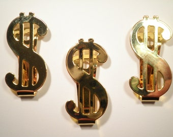 1 Gold Plated Dollar Sign Money Clip