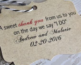 Wedding Favor Tag, Sweet Thank You, Bracket Tag, Thank You I Do, Favor Tag, Gift Tag, Weddings