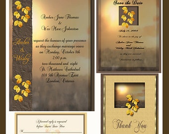 Fall Sunset Wedding  Invitation Package Editable Download