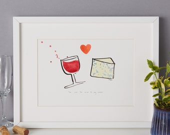 Wine and cheese - foodie couple, quirky, kitchen couple art, foodie art print - unframed