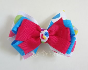 Party Spots Bow - Pink and Blue - No Slip Velvet Grip Hair Clip