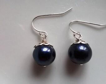 Freshwater Dark Navy Blue Pearl Drop Earrings
