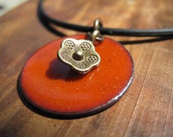 Persimmon Orange Enamel Necklace, Enamel Flower Necklace, Copper Enamel Jewelry, Orange Necklace, Orange Jewelry