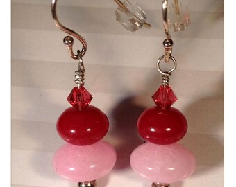 Cherries on Top -- Pink Jade, Red Jade, Hot Pink Swarovski Crystals with Sterling Silver Earrings
