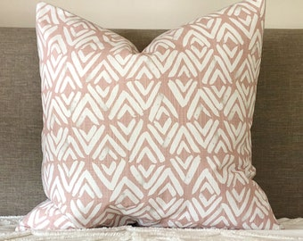 Blush and grey tribal print pillow cover, blush cushion, grey linen pillow, reversible pink and grey pillow, pink Euro pillow, linen pillow