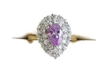 Amethyst Purple & Clear Rhinestones Ring Vintage Size 6.75