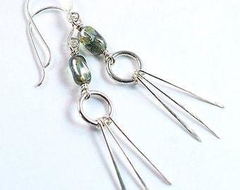 Sterling Silver Long Earrings,  Pine Green Czech Glass Earrings, Long Dangle Elegant Earrings, Silver Duster Earrings