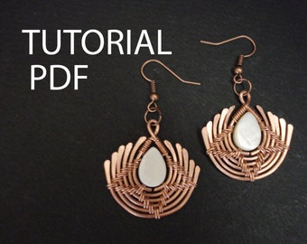 Earrings tutorial, wire wrap tutorial, copper wire tutorial, jewelry tutorial, wire wrapped lessons, wire wrap instructions, jewelry lessons