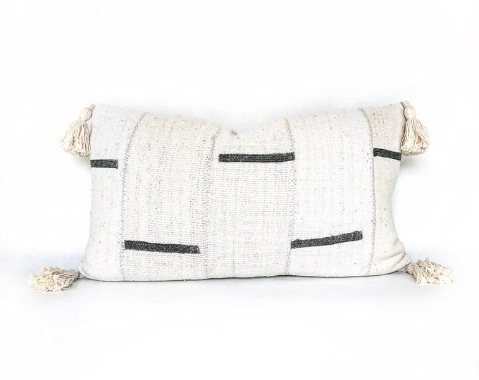 African Mudcloth And Tassel Lumbar Pillow Cover 14x24
