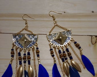 Gold & Blue Feathered Earrings