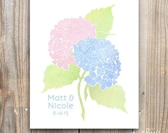 Personalized Hydrangea Wall Art Print, Flowers, Custom Wedding Gift, Bridal Shower Gift
