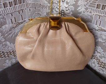 JUDITH LEIBER 1980's  Beige KARUNG  Snakeskin - Clutch / Evening Bag with Tiger Eye Clasp ... Gold Strap, Change Purse & Mirror included