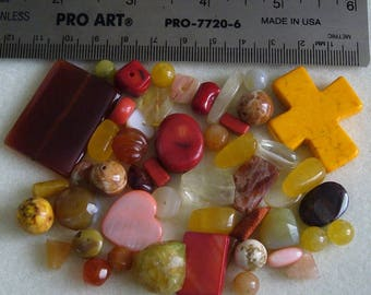 Destash - Semi-Precious Stone Lot - variety - yellows, oranges, reds - beads SP959