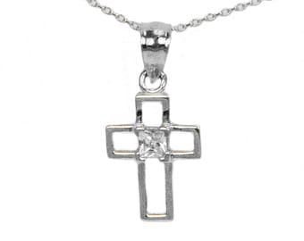 Sterling Silver Princess Cubic Zirconia Cross Pendant