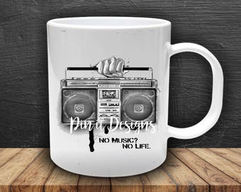 No music, no life Boom box mug, throwback mug