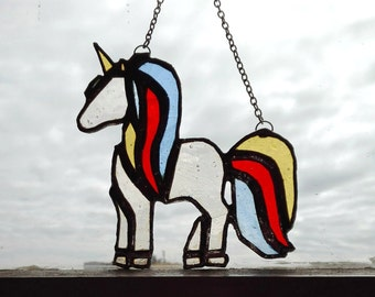 Stained Glass Unicorn, stained glass gift, home decor, suncatcher, window decor, gift for her, glass art