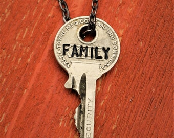"Hand Stamped Vintage Key ""FAMILY"" Necklace (#399) - Jewelry Necklace Pendant Custom"