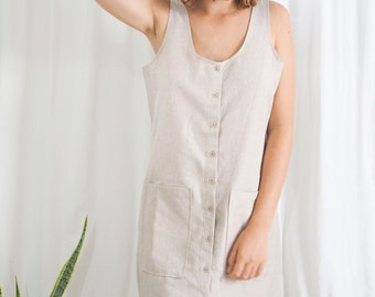 vintage cream linen button up mini shift dress with pockets