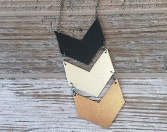 Tri-Tier Leather Necklace
