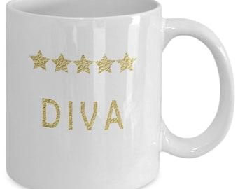 Funny Diva Coffee Mug -Five Star Best Diva Mug Novelty Gift - Humorous Quote Mug Cup for Diva - Five Gold Stars Award Mug Gift