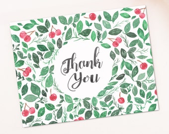 Watercolor Cherries Leaves Christmas Blank Thank you card template digital printable instant download floral pattern Leaf greeting card