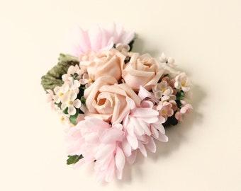 Pink rose clip, Pastel pink hair clip, Blush wedding, Salvaged vintage millinery, Bridal hair clip, Hair flower pin, Vintage flower hair