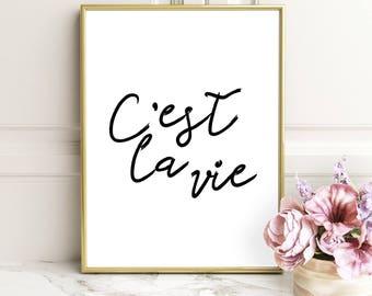 C'est La Vie Digital Download Print, Printable Wall Art Quote,French Quote Print, Digital Art, Typography Print, Black White Wall Art Print