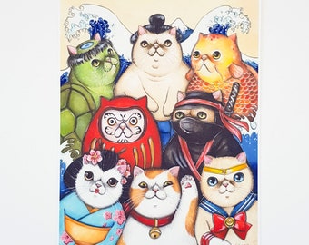 Japanese cats limited edition print