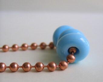 Copper Necklace, Powder Blue, Blue Glass, Ball Chain Necklace, Glass Necklace, Beaded Necklace, Copper Jewelry, Glass Jewelry
