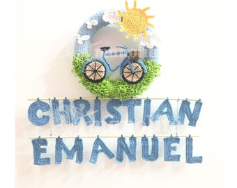 Handmade Crochet Personalized Baby Boy Bike Wreath - 100% Cotton - MADE TO ORDER