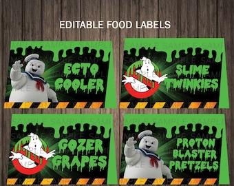 Ghostbusters Printables Ghostbusters Food Tags Ghostbusters Food Labels Ghostbusters Table Tents Place Cards DIGITAL EDITABLE TEXT