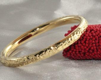 14k Yellow Gold Bangles, Gold handmade Bangle Thick Bangle Wide Bangle Bracelet Yellow Gold Woman Bracelet,14k Gold Bracelet,birthday gift,