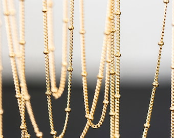 1166 Gold plated chain Flattened curb ball chain Chains Curb Ball Chain Chain for jewelry making Chain for necklace Chain 1 m