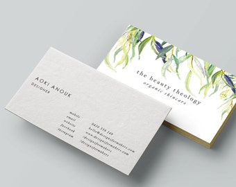 Watercolor flowers business card black ink calligraphy
