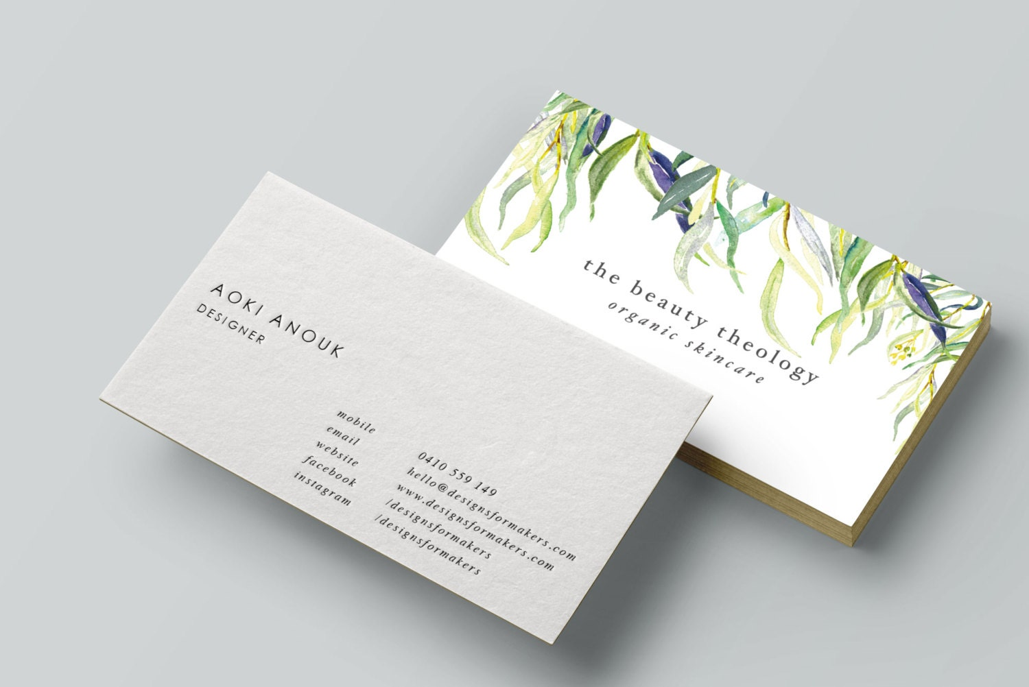 Watercolor Willow Leaves Business Card Premade Business Card