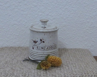 Teeny Wee Canister Jar - Handmade Stoneware Pottery Ceramic - White - Bird -  8 ounce