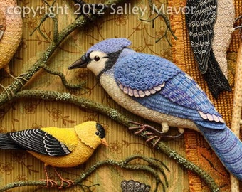 4 card set - Birds of Beebe Woods, Bluejay and Goldfinch