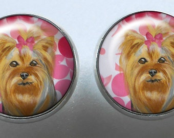 Yorkshire Terrier Earrings ~ Februray Birthday ~ Gifts for Her ~ Yorkie Portrait ~ Miniature Dog Portrait ~ Pet Keepsake ~ Yorkie Lover Gift
