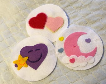 2 Kid Sized and 2 Adult Sized Care Bears inspired Belly Badges