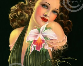 Gorgeous Glamour Girl Pin-up Print, by Billy DeVorss, Raven Haired Beauty, Portrait 11x14 Black Dress, orchid, Giclee Fine Art Print, 1938